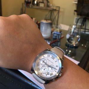 Michael Kors Accessories - MICHAEL KORS- silver watch w. beige leather strap